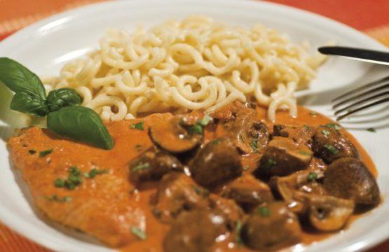 Pilz-Rezept: Champignon-Tomaten-Schnitzel