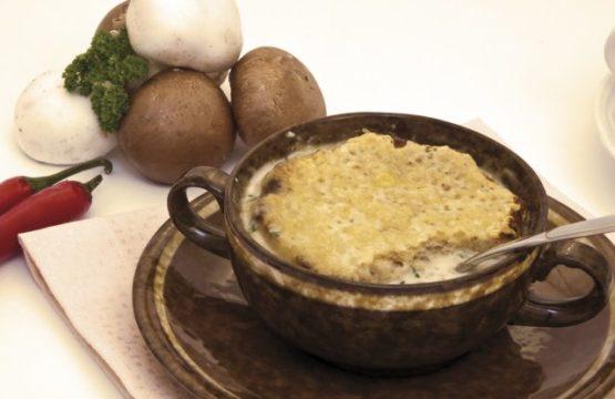 Pilz-Rezept: Gratinierte Champignonsuppe